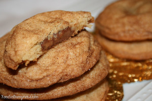 Chocolate and Caramel Stuffed Snickerdoodles
