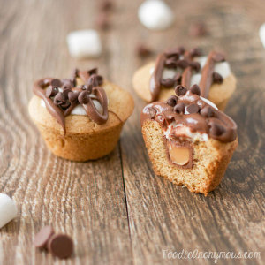 Caramel S'more Cookie Cups - FoodieAnonymous.com